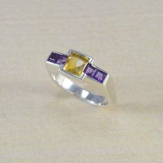 SQUARE CITRIN RING