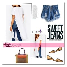 """""""Tote bag with jeans!"""" by tatajrj ❤ liked on Polyvore featuring Post-It, Pierre Hardy, Etro, Anja, women's clothing, women's fashion, women, female, woman and misses"""