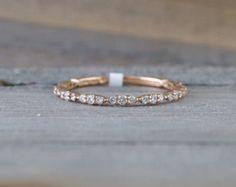 14k Rose Gold Dainty Baguette Cut Rectangle Diamond by ASweetPear