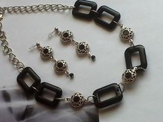 Black Acrylic and Silver Links by pricedright on Etsy