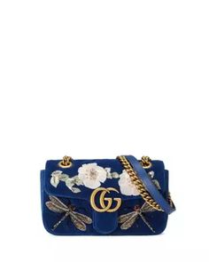 Gucci GG Marmont Embroidered Velvet Mini Bag, Cobalt