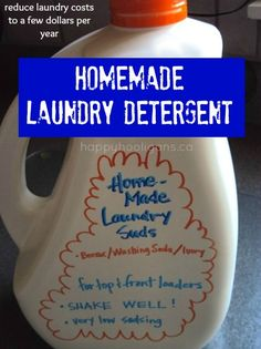 HOMEMADE LAUNDRY DETERGENT for top or front loaders - 3 simple ingredients.  Slash laundry costs to a few bucks per year! (happy hooligans)