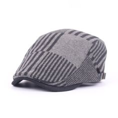 28a6cf0cbb1 Men Women Woolen Stripe Beret Cap Adjustable Newsboy Cabbie Cap Cheap Hats