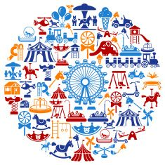 Playground Collage vector art illustration :: amusement park, carnival, fair, ferris wheel