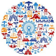 Playground Collage vector art illustration :: amusement park, carnival, fair, ferris wheel