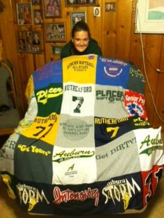 Softball Blanket, high school graduation gift, and a lifetime of memories. A real story from a Project Repat t-shirt quilt customer