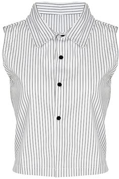 """Slim Stripes"" White Midriff Shirt. Description White midriff shirt, featuring pointed collar, sleeveless, contrasting slim stripes print throughout, buttoned front. Fabric Cotton. Washing 40 degree machine wash, do not bleach, do not tumble dry, cool iron on reverse, do not dry clean. #Romwe"