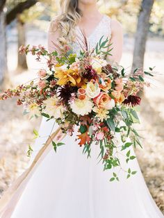 wild fall bouquet - photo by Rebecca Masters Photography http://ruffledblog.com/mountain-vineyard-wedding-inspiration