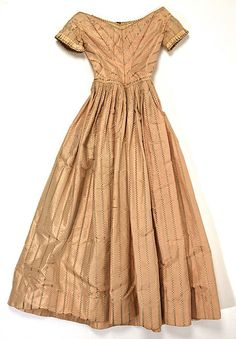 Evening dress, American, silk, 1840-45, bias bodice, dropped sleeves, pleated sleeve detail, narrow waistband, pleated skirt, deep hem