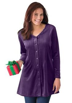 Knit velour tunic shirt in a comfortable A-line with pintucks | Plus Size Knit Tops & Tees | Woman Within