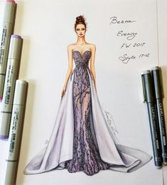 43 Ideas Fashion Design Sketches Back Evening Gowns For 2019 Fashion Drawing Dresses, Fashion Illustration Dresses, Dress Illustration, Drawing Fashion, Fashion Illustrations, Dress Fashion, Dresses Art, Modest Dresses, Fashion Outfits