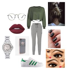 """""""Alexandra Salvatore Season 4 #84"""" by laura-jayne-d ❤ liked on Polyvore featuring NIKE, WithChic, Lime Crime, adidas and Versus"""