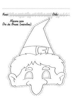 Atividades prontas para imprimir: Máscaras de bruxas - máscara de bruxa para o dia das bruxas Hobbies And Crafts, Arts And Crafts, Baby Barn, Views Album, Halloween Crafts, Techno, Coloring Pages, Two By Two, Snoopy