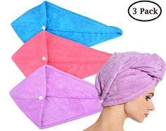 beige, Dark Purple, Light Pink, Light Blue Bath Nice 4pcs Microfiber Hair Drying Towels Fast Drying Hair Cap Long Hair Wrap Hair Towel Bath & Shower