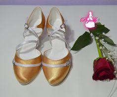 Model Diana v kombinaci ze saténu sluneční vs. bílá. Podpatek flare 5 cm.  svatební boty, svatební obuv, svadobné topánky, svadobná obuv, obuv na mieru, topánky podľa vlastného návrhu, pohodlné svatební boty, svatební lodičky, svatební boty na nízkém podpatku, žluté svatební boty, žlté svadobné topánky, žlté lodičky, zlaté lodičky.