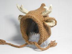 Deer Hat Baby Bonnet Knit Deer Hat Antlers and by SweetBauerKnits