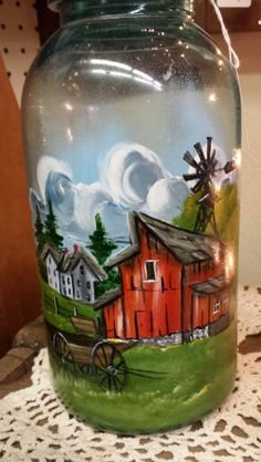 Barn and wagon painted Wine Bottle Vases, Wine Bottle Crafts, Jar Crafts, Bottle Art, Painted Milk Cans, Painted Wine Bottles, Painted Jars, Hand Painted, Decorated Wine Glasses