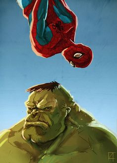 Spider-man & Hulk by Damian Buzugbe