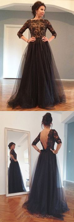 Tulle Prom Dress, Princess Prom Dresses, Open Back Evening Gowns, Black Party Dresses, 3/4 Sleeve Formal Dresses