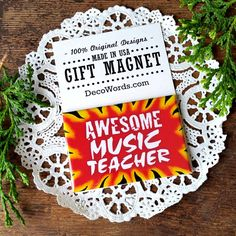 Magnet  AWESOME MUSIC TEACHER Gift Magnetic Fridge Fun Quote Decor USA New in pk #DecorativeGreetingsInc #RefrigeratorMagnet
