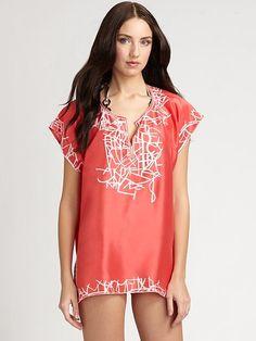 Oscar de la Renta - Silk Embroidered Tunic