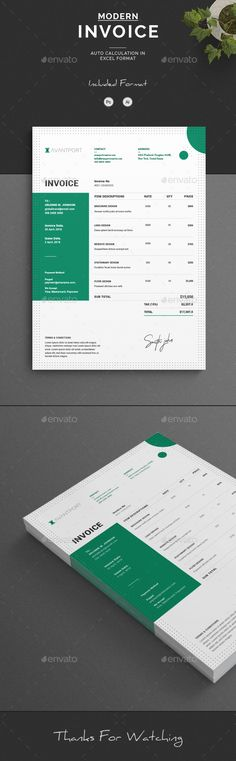 Invoice Pinterest Template, Ai illustrator and Print templates