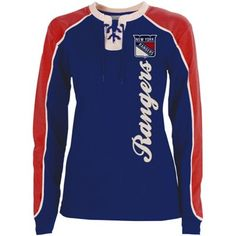 Old Time Hockey New York Rangers Ladies Nora Lace Up Long Sleeve T-Shirt - Royal Blue/Red