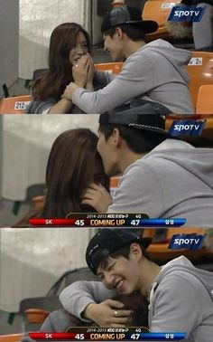 Song Jae Rim and Kim So Eun Caught on Kiss Cam at a Basketball Game Los Kiss, Kiss Cam, Song Jae Rim, Kim So Eun, We Get Married, Asian Love, Korean Couple, Sungjae, Reality Tv Shows