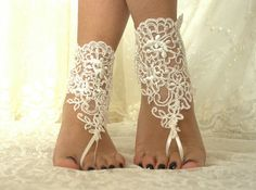 FREE SHİP  Beach Wedding Barefoot Sandals, Nude shoes,  Foot jewelry,Wedding Anklet,Bridal Lace Shoes, Belly Dance