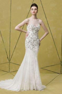 Beaded Badgley Mischka wedding gown: http://www.stylemepretty.com/2014/10/25/14-incredible-illusion-neckline-wedding-dresses/ #SMPLookBook