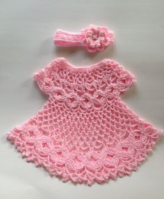 A personal favorite from my Etsy shop https://www.etsy.com/listing/288276837/baby-crochet-pink-dress-with-four-petals