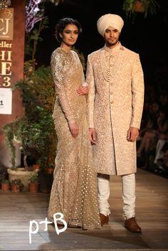 ~ Living a Beautiful Life ~ Delhi Couture Week 2013 Photos – Sabyasachi gold ivory sari sherwani Indian Bridal Fashion, Indian Wedding Outfits, Asian Fashion, Indian Outfits, Indian Weddings, Male Outfits, Sherwani Groom, Wedding Sherwani, Punjabi Wedding