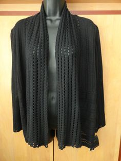 NEW ALFANI Medium Cardigan Black Pointelle Long Sleeve Open Front