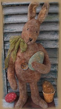 Primitive EPATTERN Standing Rabbit with Eggs by SweetMeadowsFarm, $8.50