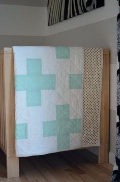 Mint and Gold Plus Quilt/ Cross Quilt/ Plus by plusminusdesigns