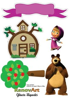 Masha and the bear Bear Birthday, 3rd Birthday, Masha Cake, Masha Et Mishka, Marsha And The Bear, Cake Templates, Bear Theme, Bear Party, Party Decoration