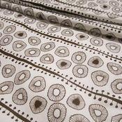Daisies (in chocolate) hand screen-printed fabric yardage / meterage, designed by Pippijoe.