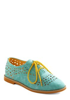 Stand Out and Smile Flat in Mint - Green, Blue, Yellow, Color Block, Cutout, Casual, Urban, Spring, Colorblocking
