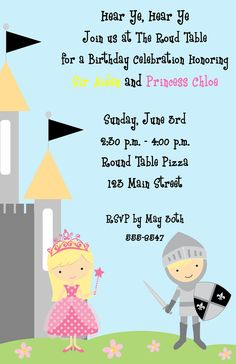 Princess and Knight Invitations by ExpressionsPaperie on Etsy, $13.50