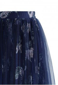 Rose Bouquet Pleated Tulle Skirt in Dark Blue - Bottoms - Retro, Indie and Unique Fashion