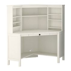 "HEMNES Corner workstation - white stain - IKEA - I would love to work something like this into a ""built in"" in the living room Guest Room Office, Home Office, Ikea Office, Office Desks, White Corner Desk, Ikea Corner Desk, Office Furniture, Living Room Furniture, Diy Furniture"