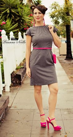 Heather Grey Tucked Collar and Sleeve Dress by SewCalbyCatLewis, $75.00