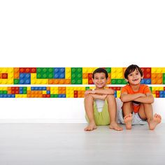 Bricks Border on Wall - Building Blocks - Bricks wall decal - Nursery Stickers - Kids Stickers