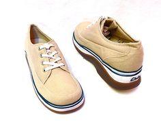 New CLARKS Mens Khaki Canvas Lace Up Comfort Athletic Shoes Oxfords 9 M