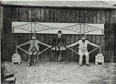 Project engineers demonstrating the cantilever principles of the Forth Bridge in Scotland 1887 [1040x760]