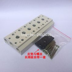 16.37$  Buy here - http://ali68u.shopchina.info/go.php?t=32799702927 - Free Shipping For 4V110-06 Series Airtac Solenoid Valve Manifold Base Board With Screws & Rubber 100M-6F 6 Station   #magazine