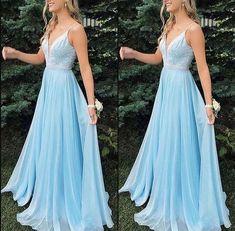 Kleider Charming V-neck Light Blue Long Prom Dress, Beaded A Line Evening Dress, Formal Prom Dresses Deb Dresses, Cute Prom Dresses, Dance Dresses, Pretty Dresses, Beautiful Dresses, Pastel Prom Dress, Elegant Dresses, Light Blue Prom Dresses, Blue Grad Dresses
