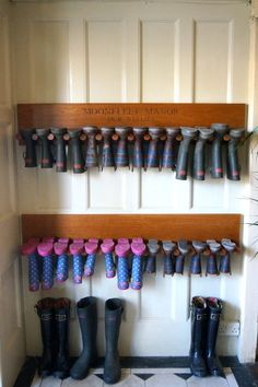 organizing the garage Luxury Family Hotel Engraved Welly Boot Holders Boot Organization, Boot Storage, Outdoor Shoe Storage, Boot Rack, Mudroom Laundry Room, Diy Shoe Rack, Wellies Boots, Garage Makeover, Wooden Diy
