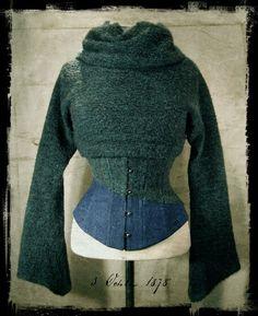 Denim & wool fleece under bust corset teamed with a short matching bolero turtleneck jumper. Nymph Nouveau backlog.