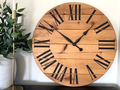 Wall Clock Wooden, Wood Clocks, Oversized Clocks, Faith Tattoo On Wrist, Clock Painting, Handmade Clocks, Distressed Walls, Black Clocks, Egyptian Tattoo